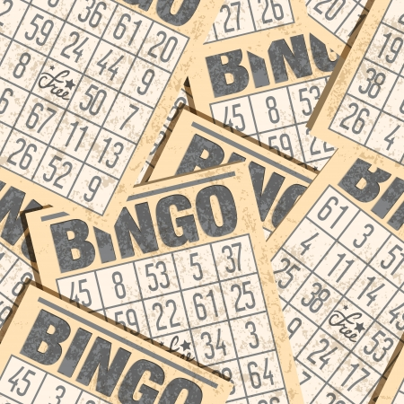 Bingo naadloze retro achtergrond met kaarten Stock Illustratie