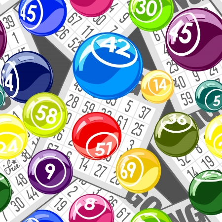 Bingo seamless background with balls and cards Vectores