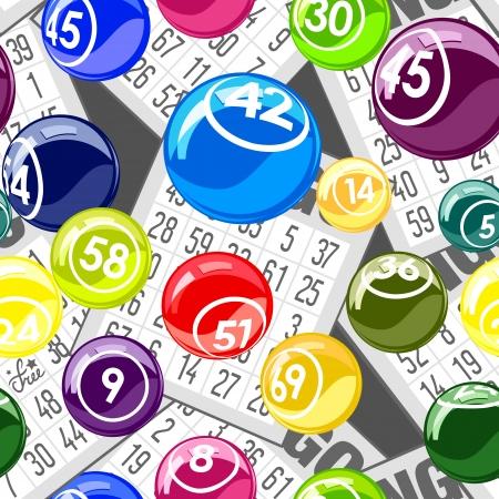 loto: Bingo sans soudure de fond avec des boules et des cartes Illustration