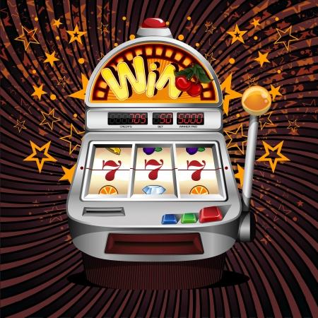Een vector slot fruit machine met kersen winnen op zevens