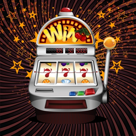A vector slot fruit machine with cherry winning on sevens  Vectores