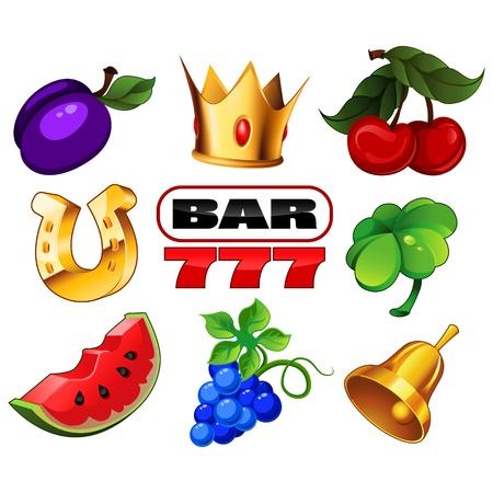 frutas divertidas: Varios iconos de m�quinas tragaperras