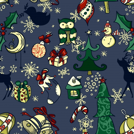 Seamless pattern with different christmas simbols Vector
