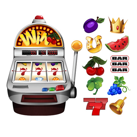 A slot fruit machine with cherry winning on cherries and Various slot fruit machine icons Vectores