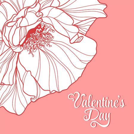 Valentines day design with rose flower. Vector illustration.