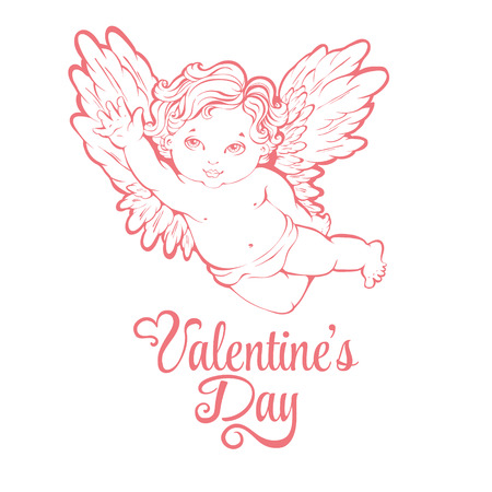 angel valentine: Vector illustration of flying angel or cupid