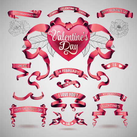 valentine background: Vector set of valentines day banners and ribbons