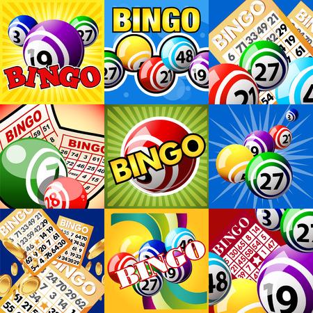 bingo: Bingo o bolas de la lotería y tarjetas. El conjunto de diseños Vectores