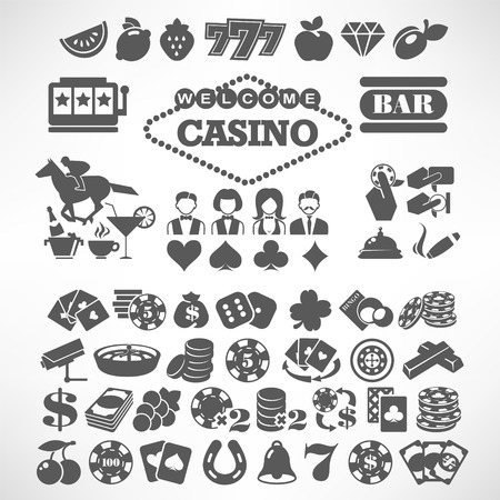 machine: The biggest set of flat casino or gambling icons Illustration
