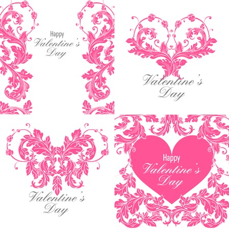 Set of valentines day greeting cards with baroque floral ornament. Gentle vintage design. Vector illustration. Vector