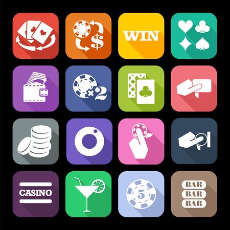 fichas casino: El conjunto de iconos de casino planas con larga sombra. Diseño de tendencia