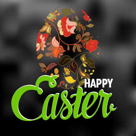 ostern: Happy Easter Typographical blurred Background with ornate egg