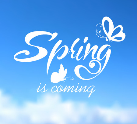 Typographic Design. Lettering Spring design on blurred background with butterflies.