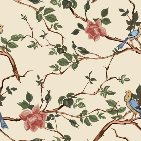china rose: Rose blossom branches with bird seamless pattern background