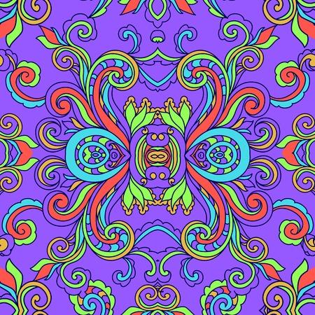 flor: Decorative abstract floral boho pattern. Graphic meditation. Zentangle