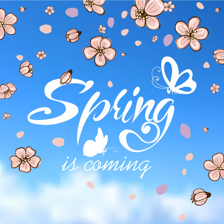 kyoto: Typographic Design. Lettering Spring design on blurred background with butterflies and cherry blossom or sakura. Illustration