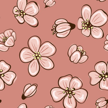 cherry blossom or sakura seamless pattern background Vector