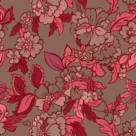 indonesian: Decorative creative floral boho seamless pattern