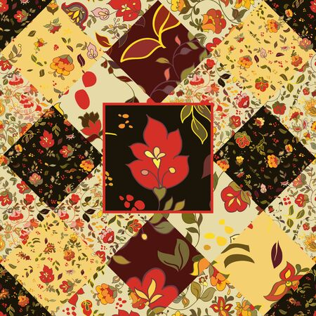 flor: Creative seamless patchwork pattern with flowers. Vintage boho style