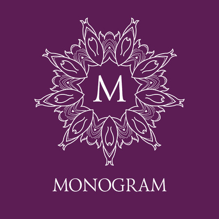 Simple and elegant monogram design template with letters. Vector illustration. Vector