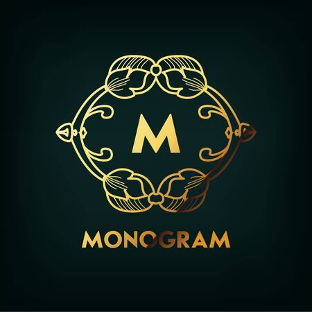 Frame. Geometric Luxury Vintage Line Design Style for Hipster Art. Art Decor Monogram and Emblem Elements. Copy Space for Text. Vector