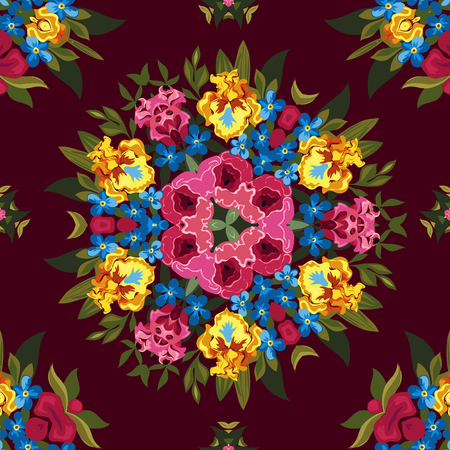 flor: Floral abstract or hippie seamless pattern background. Mirror design.
