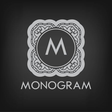 Luxury,simple  and elegant monochrome  monogram design template with letters on chalkboard background.  Vector