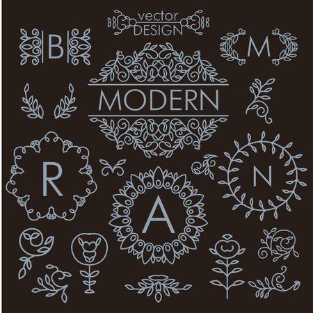 Lujo conjunto de vectores de la vendimia del diseño floral línea de elementos, marcos y bordes en estilo moderno Foto de archivo - 38016124