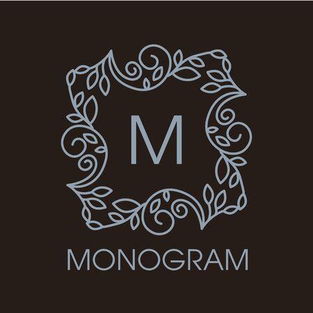 decorative letter: Luxury vintage vector set of floral line design elements, frames and borders in modern style