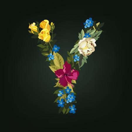 uppercase: Y letter. Flower capital alphabet. Colorful font. Uppercase.  Vector illustration.