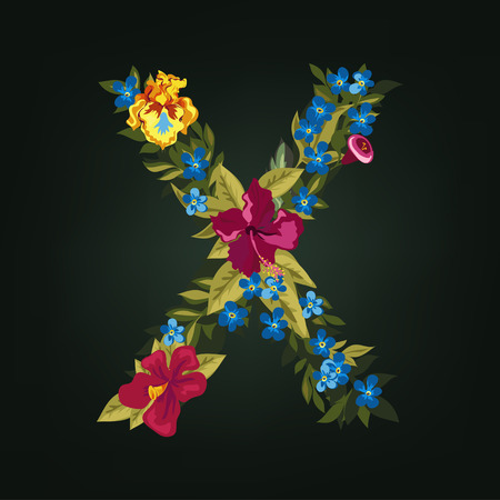 uppercase: X letter. Flower capital alphabet. Colorful font. Uppercase.  Vector illustration.