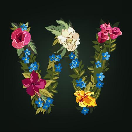 uppercase: W letter. Flower capital alphabet. Colorful font. Uppercase.  Vector illustration.