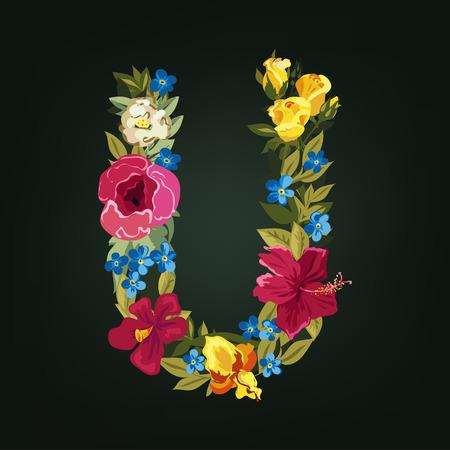 U letter. Flower capital alphabet. Colorful font. Uppercase.  Vector illustration. Vector