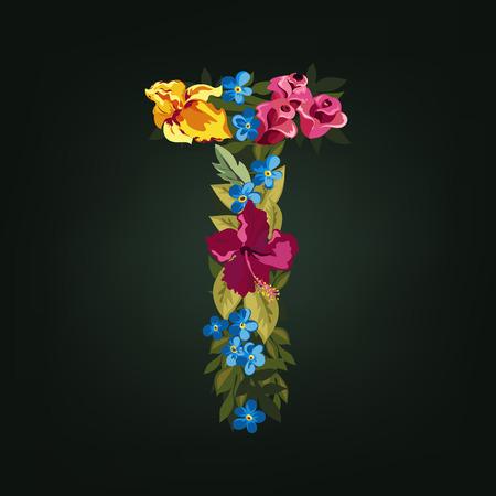 uppercase: T letter. Flower capital alphabet. Colorful font. Uppercase.  Vector illustration.