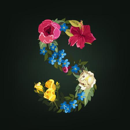 s alphabet: S letter. Flower capital alphabet. Colorful font. Uppercase.  Vector illustration. Illustration