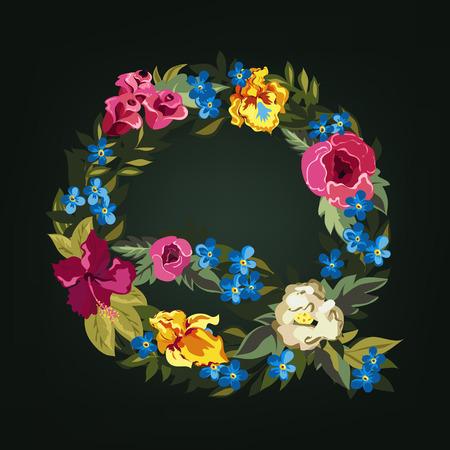 uppercase: Q letter. Flower capital alphabet. Colorful font. Uppercase.  Vector illustration.