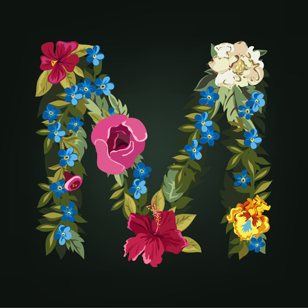 M letter. Flower capital alphabet. Colorful font. Uppercase.  Vector illustration. Illustration