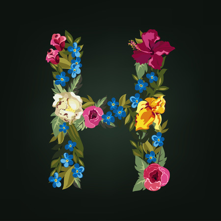 white letters: H letter. Flower capital alphabet. Colorful font. Uppercase.  Vector illustration.