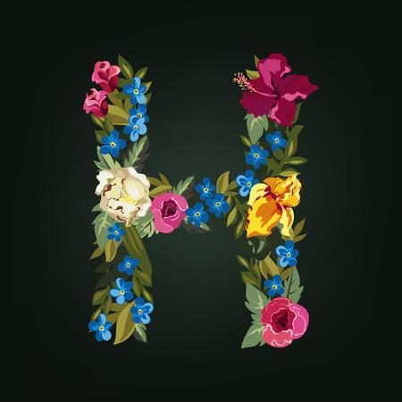 lettre alphabet: Lettre H. Flower alphabet capital. Colorful police. Majuscules. Vector illustration.