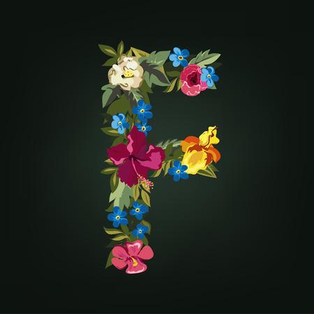 uppercase: F letter. Flower capital alphabet. Colorful font. Uppercase.  Vector illustration.