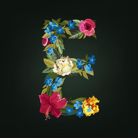 E letter. Flower capital alphabet. Colorful font. Uppercase.  Vector illustration.