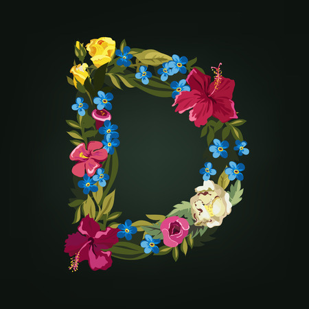 uppercase: D letter. Flower capital alphabet. Colorful font. Uppercase.  Vector illustration. Illustration