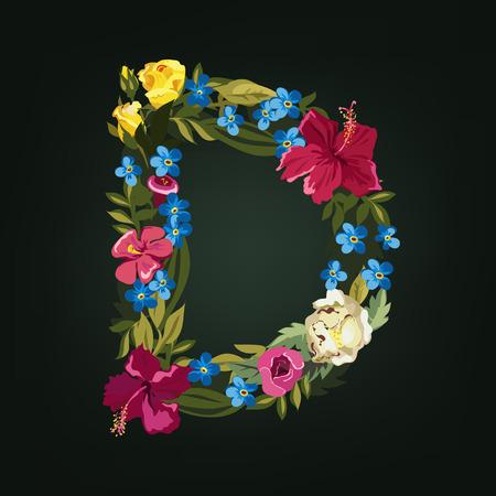 tipos de letras: Letra D. Alfabeto capitales Flor. Fuente colorido. Mayúsculas. Ilustración del vector.