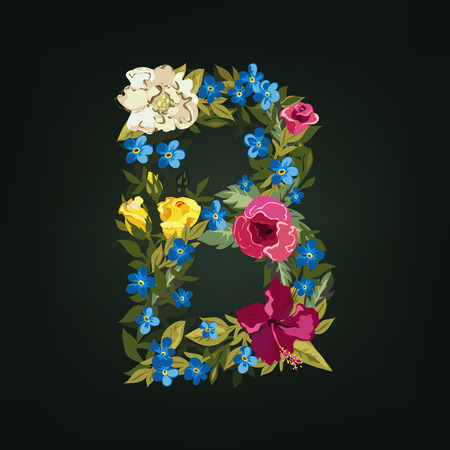 b day gift: B letter. Flower capital alphabet. Colorful font. Uppercase.  Vector illustration.