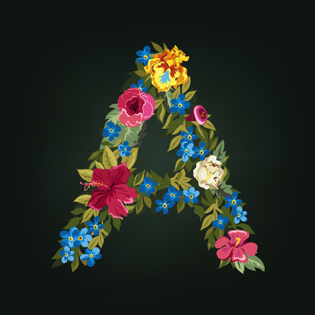 flower font: A  letter. Flower capital alphabet. Colorful font. Uppercase.  Vector illustration. Illustration