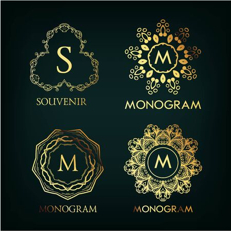 crown logo: Set of luxury, simple and elegant  monogram designs template with copy-space for text . Good for labels. Vector illustration.