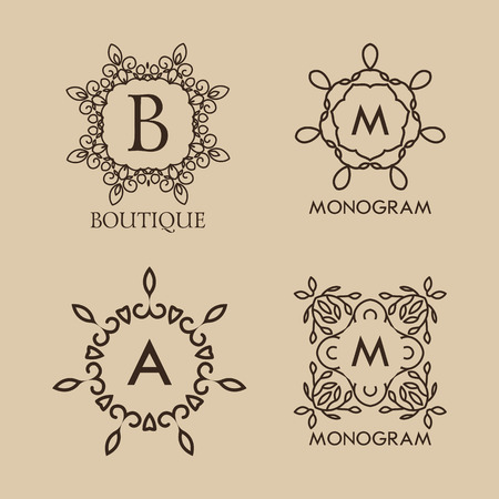 Set of luxury, simple and elegant  monogram designs template with copy-space for text . Good for labels. Vector illustration. Vector