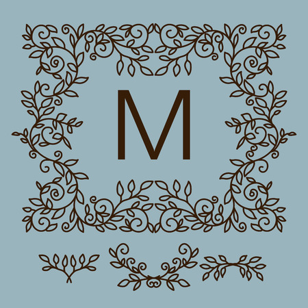 Floral  vector frame with copy space for text in trendy mono line style. Monogram design element Illustration