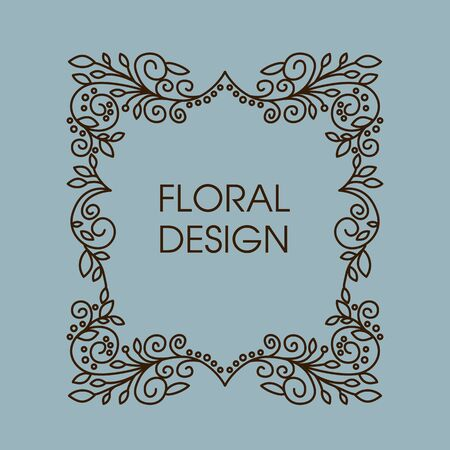 space for copy: Floral  vector frame with copy space for text in trendy mono line style. Monogram design element Illustration