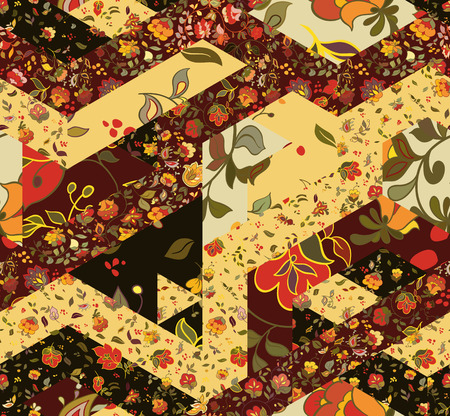 boho: Patchwork pattern with flowers. Abstract creative seamless background. Vintage boho style